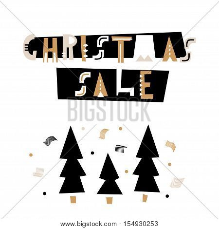Christmas sale text . Holiday template for winter sale. Vector Illustration