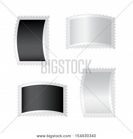 Vector silver and black deflected stamps on white background