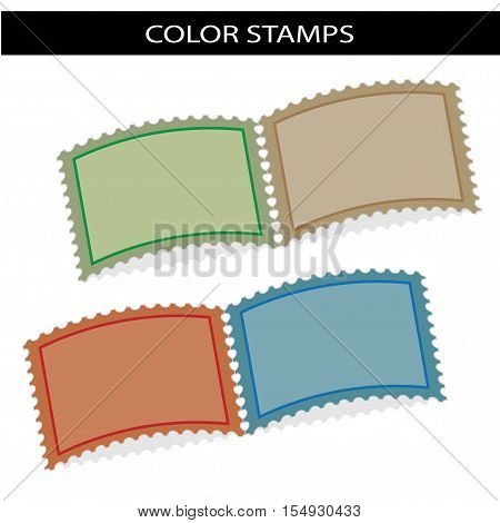 Vector deflected stamps - green, brown, red, blue