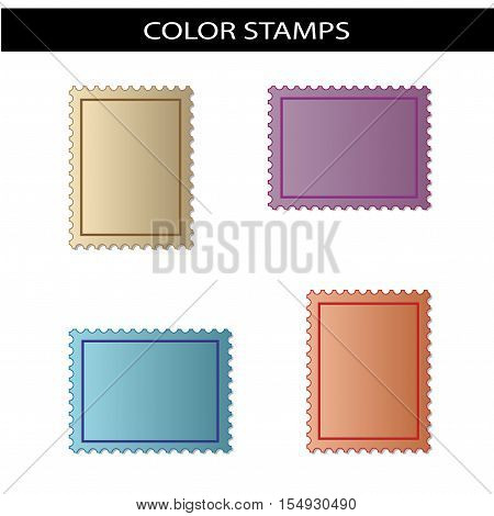 Vector stamps - beige, purple, blue, red