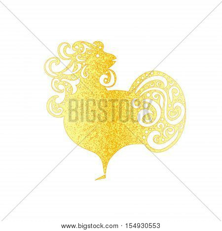 Chinese New Year 2017 rooster design. Golden Cock - Symbol of New Year 2017.