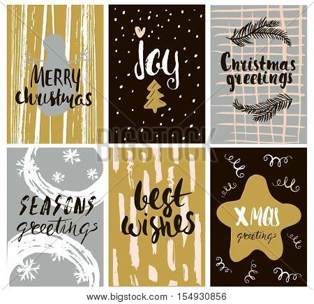 Set of cute holidays greeting card with hand drawn elements and shapes. Unique handwritten Christmas lettering collection. Vector Illustration