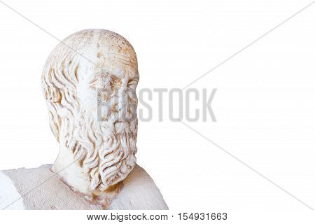 Statue of Herodotus on white background, ancient Greece