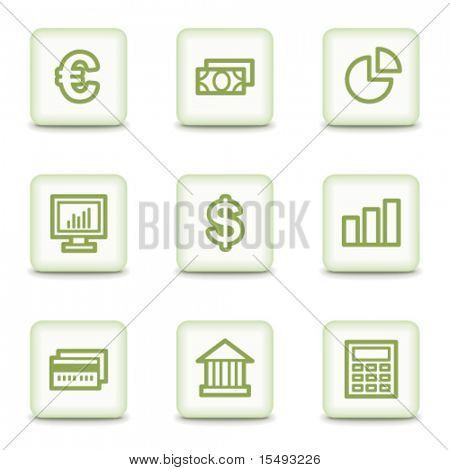 Finance web icons set 1, white glossy buttons