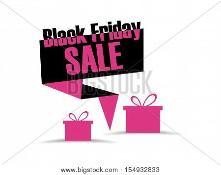 Black Friday Discount And Promotion Banners. Gift Box Icon. Callouts Black Friday Sale. Vector Illus