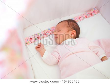 Portrait Of Sleeping Newborn Baby Girl