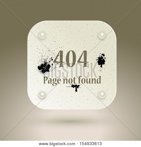 404 Error file not found on website page. Vector illustration.