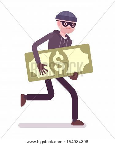 Thief in a black mask stole money and is running away. Cartoon vector flat-style concept illustration