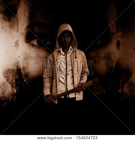 Serial killer with hatchet ,Scary background for book cover ideas