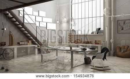 Industrial interior, office interior design, 3D illustration