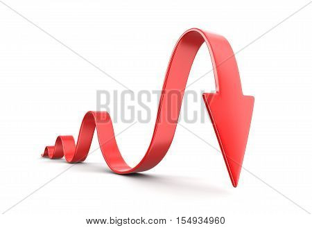 3D Illustration. 3d arrow downwards. Image with clipping path