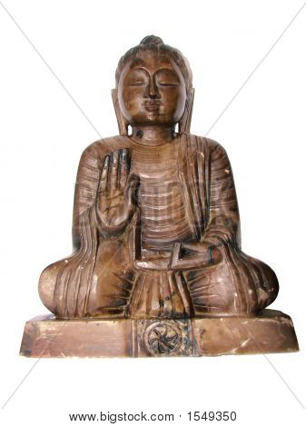 Stone Buddha probably the Amida Nyorai holding his hands in a mudra of reasoning teaching and discussion isolated on a clear white background. poster