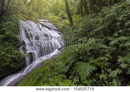 Lan Sadej Waterfal at Doi Inthanon National Park in rainy season, Chiangmai, Thailand.