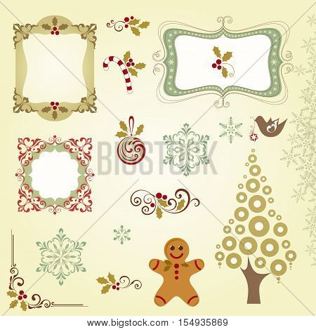 Ornate Christmas elements with frames, Christmas tree, Christmas ball, gingerbread, holly berry, candy cane, snowflakes and scrolls.