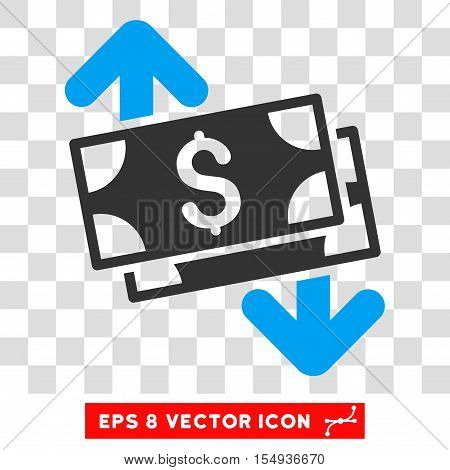 Banknotes Spending EPS vector pictograph. Illustration style is flat iconic bicolor blue and gray symbol on white background.