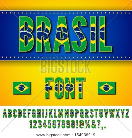 Brasil National Flag stylized Font. Alphabet and Numbers in Vector Set