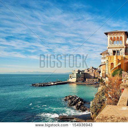 View Of Bogliasco. Bogliasco Is A Ancient Fishing Village In Liguria. Italian Riviera