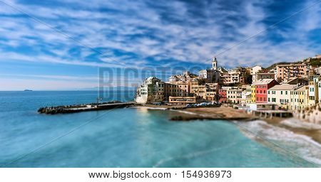 View of Bogliasco. Bogliasco is a ancient fishing village in Liguria. Italian Riviera. Selective focus