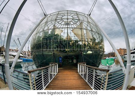 Genoa Italy - December 20 2012: The Aquarium and the tropical Biosphere in the harbor of the city. It is a popular tourist attraction in Genoa. Italy