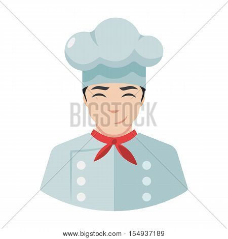 Smiling chef icon cook icon avatar flat style
