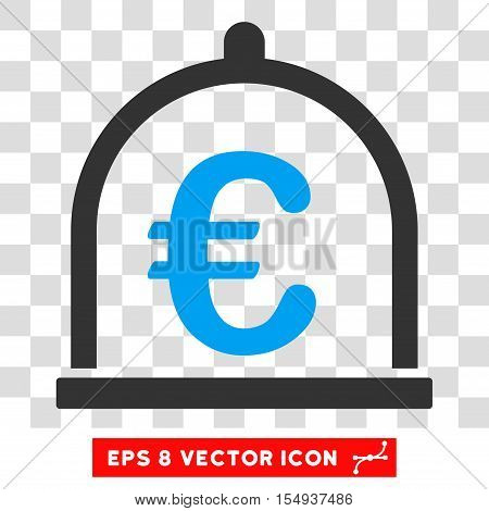 Euro Storage EPS vector icon. Illustration style is flat iconic bicolor blue and gray symbol on white background.