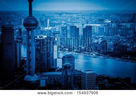 Bird's eye view of the huangpu river of Shanghai from a height of skyscrapers and architecture, China