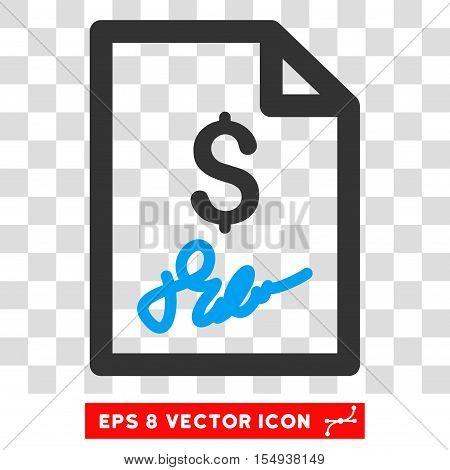 Invoice Page EPS vector pictograph. Illustration style is flat iconic bicolor blue and gray symbol on white background.