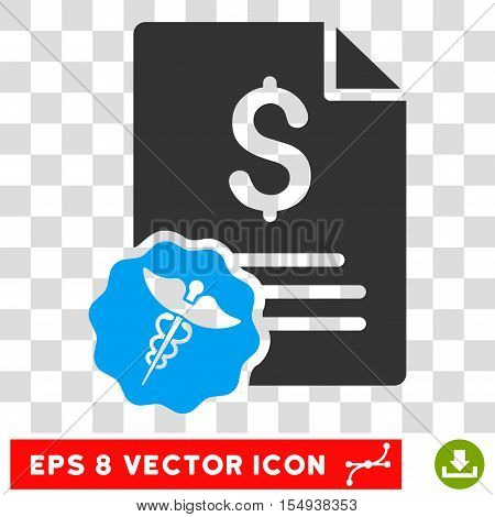 Medical Invoice EPS vector pictograph. Illustration style is flat iconic bicolor blue and gray symbol on white background.