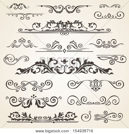 Fine line set of design elements isolated on light background. Vector frame element collection. Design book dividers. Floral design swirls