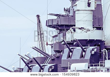 closeup details of war ready artillery battleship