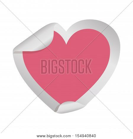 blank sticker in heart shape and pink color icon over white background. vector illustration