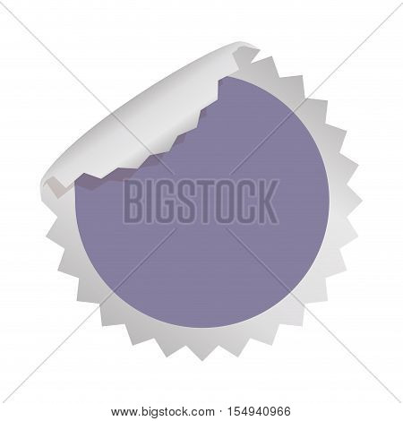 blank sticker in circle shape and purple color icon over white background. vector illustration
