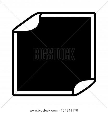silhouette of blank sticker in square shape icon over white background. vector illustration