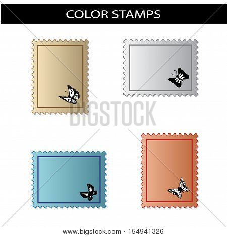 Vector stamps with butterfly on white background