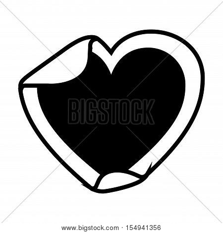 silhouette of blank sticker in heart shape icon over white background. vector illustration