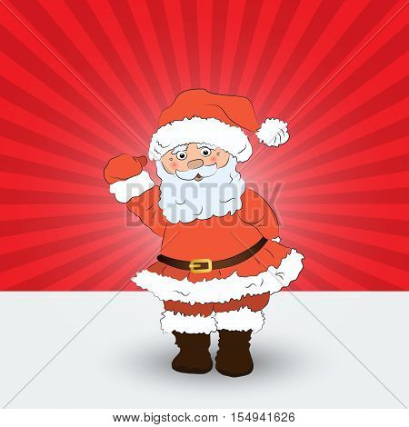 Santa Claus on a red background.Christmas card Design template