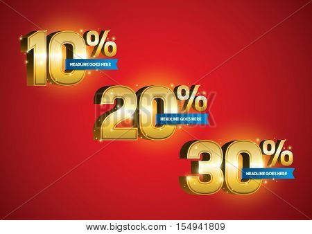 Vector of different numbers with percentage discount