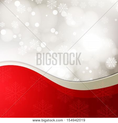 Christmas festive background with bokeh and red ribbon