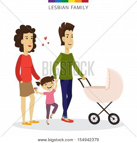 Vector lesbian couple love concept. Lesbian family of two women, daughter and baby in the cradle. Romantic illustration.
