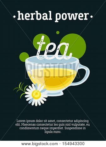 Herbal power - blackboard restaurant sign, poster with cup of green tea with camomile. Vector illustration, eps10.