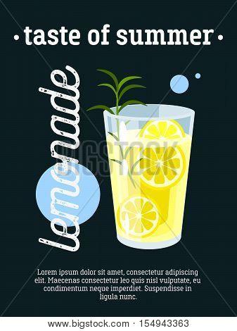 Taste of summer - blackboard restaurant sign, poster with glass of fresh lemonade. Vector illustration, eps10.