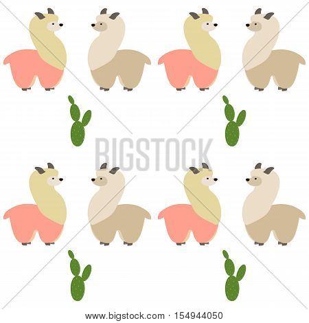 Seamless pattern with lamas and cactus. Alpaca and cactus. Vector flat for print. Vector cute Alpaca lama animal