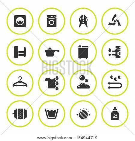 Set round icons of laundry isolated on white. Vector illustration