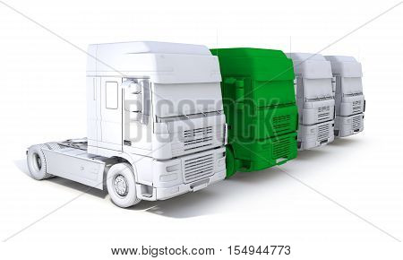 3d rendering of skecth semi-trailer truck concept with one green trailer