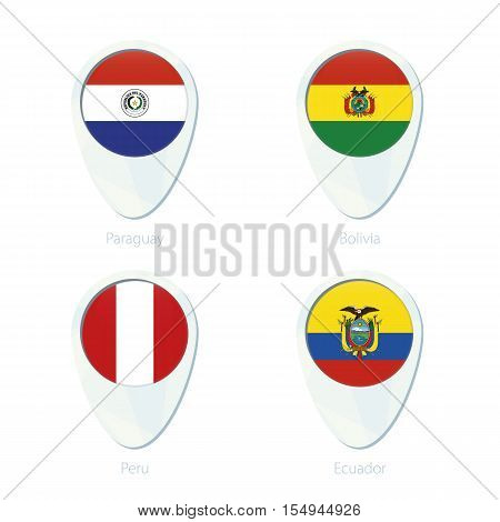 Paraguay, Bolivia, Peru, Ecuador flag location map pin icon. Paraguay Flag, Bolivia Flag, Peru Flag, Ecuador Flag. Vector Illustration.