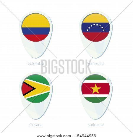 Colombia, Venezuela, Guyana, Suriname flag location map pin icon. Colombia Flag Venezuela Flag Guyana Flag Suriname Flag. Vector Illustration.