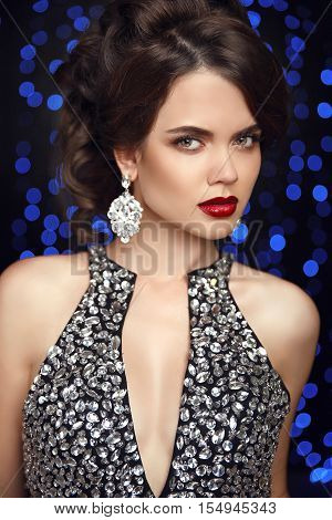 Beauty Makeup. Fashion Jewelry. Women Portrait. Elegant Lady With Red Lips, Hairstyle, Diamond Earri
