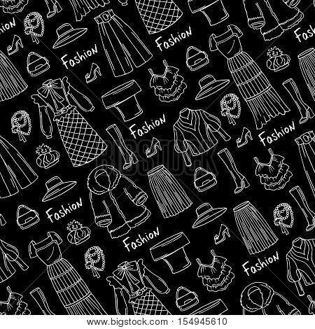 Vector seamless pattern with hand drawn isolated fashionable clothes for ladies on black color. Pattern on the theme of fashion beauty. Background for use in design