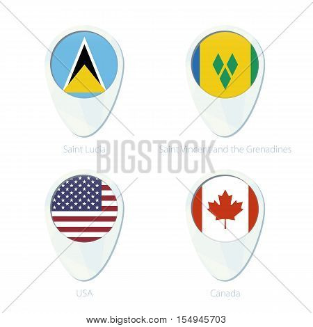 Saint Lucia, Saint Vincent And The Grenadines, Usa, Canada Flag Location Map Pin Icon.