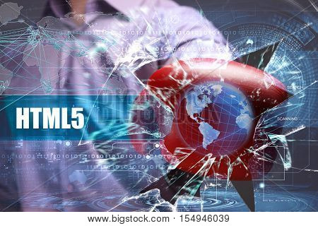 Business, Technology, Internet And Network Security. Html5